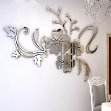 3D Mirror Flower Decal Wall Sticker DIY Removable Art Mural Home Room Decor