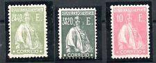 PORTUGAL , 1920 , THREE SCARCE DEFINITIVES , 2,4 E , 3,20 E and 5 E !! MH