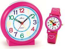 SET Kinderwecker + Armbanduhr Rosa Pink Mädchen Lernwecker - Atlanta 1917-8 KAU