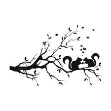 Squirrel On Long Tree Branch Wall Sticker Art Decal Kids Room Decor (Black) W4M7