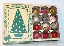 Box Lot Vintage Shiny Brite Glass Christmas Tree Ornaments Grapes Swirls Indents