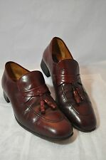 4bc0599f VINTAGE PIERRE CARDIN MADE IN SPAIN MENS TASSLE LOAFER 9M LEATHER OXBLOOD  RED