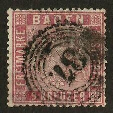 Baden stamp 14, used, 1860 - 1862, 9k rose, SCV $175