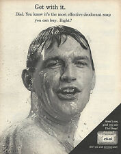 """Dial Soap Original 1964 Vintage Print Ad - Handsome Man in Shower """"Get With It"""""""