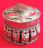 Box Metal Trinket Natural Stone Small Vintage Jewelry Shape Circle Wild Gift Vtg