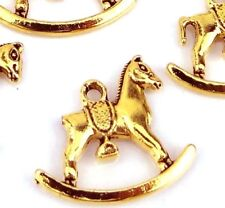 10 Antique Gold Pewter Rocking Horse Charms 20 x22mm