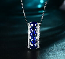 Oval Cut Royalblue Sapphire Stacking Eternity Pendant Neckalce White Gold Filled
