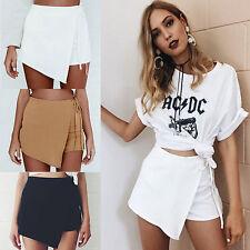 Damen Kurze Hose Minirock Asymmetrisch Sommerrock Hohe Taille Kurz Hosen Röcke