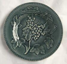 "Antique French Majolica Plate Longchamp Terre De Fer Blue Grapes 7 7/8"""
