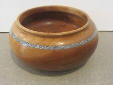 Williamson Wood Bowl Hand turned signed Folk Art Inlay