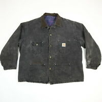 Vtg Carhartt Denim Chore Coat Mens 2XL? Aztec Blanket Lined Fade Distress Black