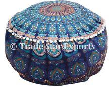 Indiano Mandala Pouf Ottoman Pouf Poggiapiedi cotone COPERTURA grande rotonda POUF caso