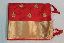 Indian Designer Coral Silk Saree Bollywood Embroidered Sari Bridal Party Dress
