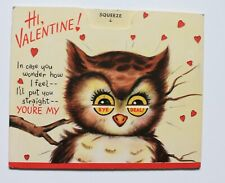"""Early Hallmark """"Squeezem"""" Valentine's Day card the owl from around 1950"""