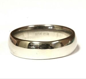 10k white gold 6mm mens solid comfort fit wedding band ring 7.6g gents size 9