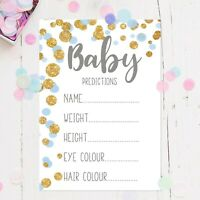 Baby Shower Prediction Game Pack of 10 A6 Cards Blue & Gold Polka Dots Baby Boys