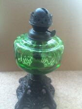 ORIGINAL VINTAGE green GLASS VICTORIAN OIL LAMP - CAST IRON BASE
