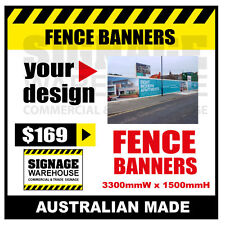 Custom Outdoor Fence Mesh Banner Sign Wrap - 3300mmW x 1500mmH Signage Warehouse