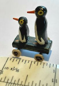 Dolls House Miniature Artisan Made Vintage Style Wooden Penguin Toy on Wheels