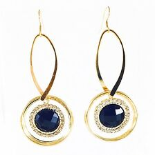 USA Charming Earring Chunky Fancy Lightweight Dangle Drop Vintage Black Gold