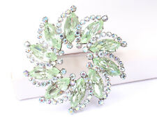 Weiss Silver Tone and Green Rhinestone Brooch, Vintage 1960s