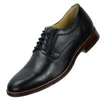 Johnston Murphy Mens Garner Oxfords Size 9.5M Black Leather Plain Toe Lace Up