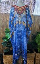 Plus Size Long Sheer Thin Embellished Kaftan Digital Printed Size 16-18-20