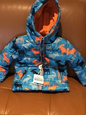NEW Hatley toddler boy's blue moose print hooded jacket puffer coat 3 3T NWT