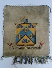 Antique Beadwork Banner Victorian Heraldic Crest Per Mare Per Terras MacDonald