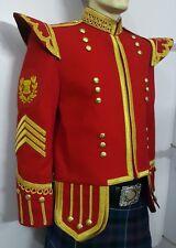 Drum Major Doublet Red Blazer, Gold Braid & Trim. D/M badge & 4 strip Chevron.