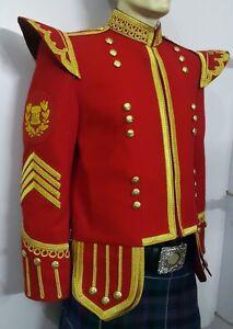 Drum Major Doublet Red Blazer Wool Gold Braid And Trim Fancy Collar