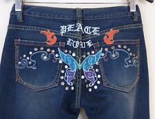 Joy Embroidered Peace Love Butterfly Metal Embellished Jeans Women's Size 3