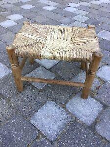 Oak Framed Foot-stool Farmhouse Cottage Woven Rush Seat Rushwork Shaker Rustic