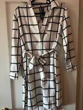 Agnes & Dora Flannel Shirt Dress Window Pane Ivory Black Size Small