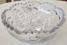 "Vintage Brilliant Etched Lotus Flower Crystal Sawtooth 9"" Floral Bowl"