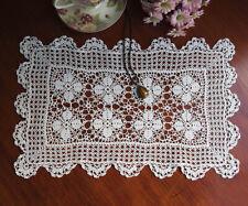 Elegant Fine Yarn Cross Flower Hand Crochet Lace Doily Place Mat 30x43CM White
