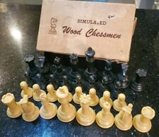Vintage Drueke Games No 35 Simulated Wood Chessmen Chess Set - Weighed Bottoms