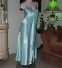 TTO65 - Enchanting Nightgown MEDIUM Bias Cut Mint Green Embroidered Satin Gown M