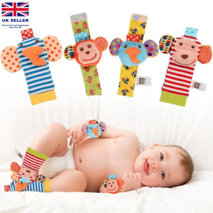SKK Baby 4 Animal Wrist Rattle and Foot Finder Socks Set Development Toys Gift