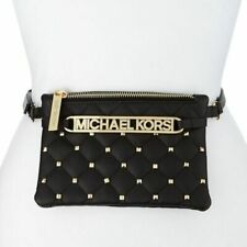 Michael Kors Black Faux Leather Gold Studded Belt Bag - Pick Size