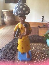 Original Brazilian Woman Pregnant Mom Clay Figurine w Tot Basket Bag 11