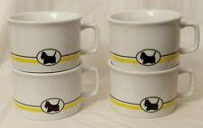 4 Vtg Dept 56 Scottie Cafe Soup Mugs Lynda Sylvester Blk Yellow Nwt Japan 12 oz