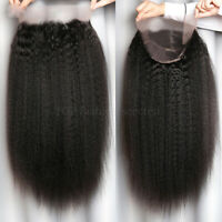 Glueless Lace Front Wigs Yaki Kinky Straight Human Hair Wig Pre Plucked Peruvian