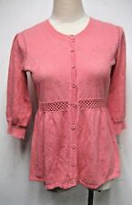 NEW KENZO FLORAL JACQUARD COTTON KNIT CARDIGAN TOP IN PINK, SIZE S