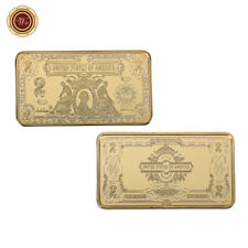 WR 24k Gold Bullion Bars 1899 $2 Two Dollar Bill US Silver Certificate Art Ingot