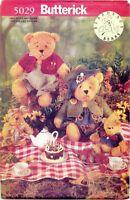 """Butterick 5029 141 Beardeaux Bear Family 7.5"""" - 15"""" Sewing Pattern UNCUT FF NEW"""
