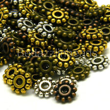 Huge Lot of 300 Assorted 7mm Flat Flower Antique Pewter Rondelle Spacer Beads