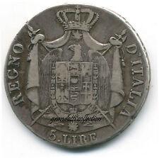 NAPOLEONE RE D'ITALIA 5 LIRE 1810 BOLOGNA RARA MONETA ARGENTO