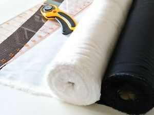 Iron on Cotton Fusible Interfacing Woven 0.5m, Black or White, 112 cm Wide