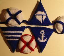 Nursery, pram charm, home deco - Nautical bunting, life buoy, knitting pattern
